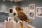 "Photo by Zonghui Li | Prospectus News  Student Karissa Marshall's 3D Design piece ""Owl"" is displayed at the Parkland College Art and Design Juried Exhibition in Gertz Gallery. The show runs from April 13 to May 2, 2015."