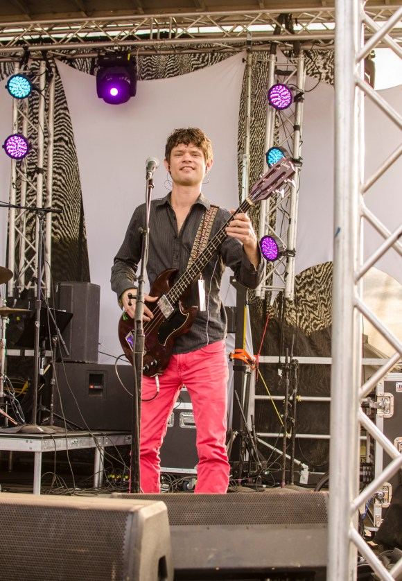 Photo by Billi Jo Hart   Prospectus News Guitarist Josh Houchin performs in the group Sun Stereo, a local band from Urbana, Ill. on Sunday, May 24, 2015.
