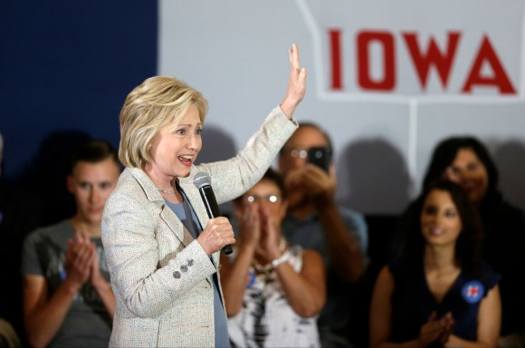 FILE - In this July 26, 2015, file photo, Democratic presidential candidate Hillary Rodham Clinton speaks at Iowa State University in Ames, Iowa. In her many visits to the leadoff caucus state, Clinton has included multiple remarks with regional references. The approach is a stylistic shift from Clinton's failed 2008 presidential bid, which began poorly with a third-place finish in the Iowa caucuses. (AP Photo/Charlie Neibergall, File)