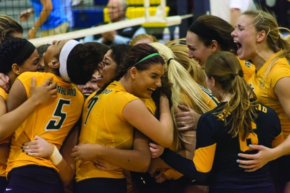 Photo courtesy of Phoenix College Parkland women's volleyball celebrate after winning the NJCAA championship.