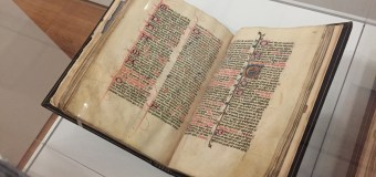 Medieval documents displayed at Krannert