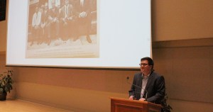 Photo by Kelcey Williams | Adam Doskey presents at the Spurlock Museum of Cultures on March 15.
