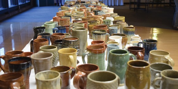 Photo by Tom Warner|  Ceramic cups fill tables for the Coffee and Tea, Cups and Desserts Benefit at Parkland's Giertz Gallery on Nov. 30.