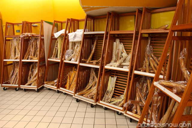 Baguette stacks at a Paris supermarket