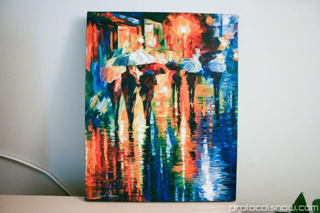 Leonid Afremov rainy etude painting print giclee art auction