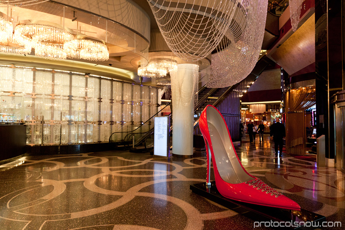 Las Vegas Chinese New Year dragon decorations celebration Cosmopolitan chandelier shoe heels lounge bar hotel casino