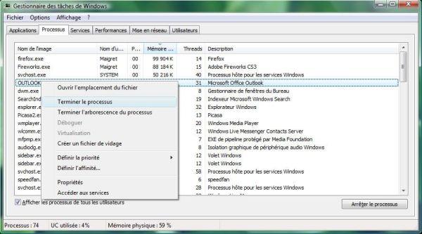 Capture d'écran - Gestionnaire des tâches de Windows, onglet Processus
