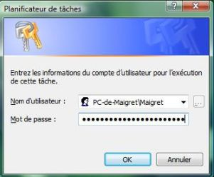 Capture d'écran - Planificateur de tâches, saisie du mot de passe utilisateur