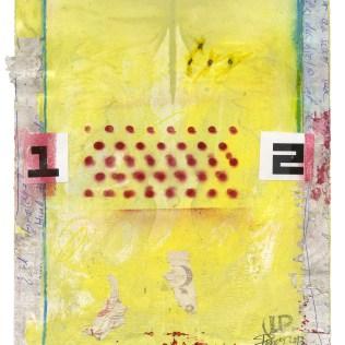 """Mellem 1 og 2"", 2013. Acryl/collage på papir, 28 x 23 cm. DKK 2.200,- (u. ramme)"