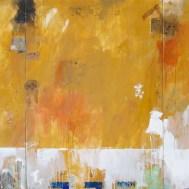 """Lars Pryds: """"Gul mur"""", 1987. Maleri/collage på lærred, 140x300 cm."""