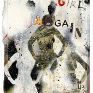 "Lars Pryds: ""Girls Again"", 2012. Acryl/collage på papir, 28 x 23 cm."