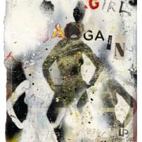 "Lars Pryds: ""Girls Again"", 2012. Acryl/collage på papir, 28 x 23 cm."