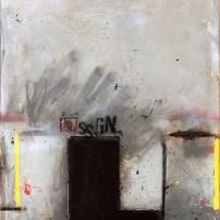 """Lars Pryds: """"Ssgn"""", 2010. Akryl/collage/lak på lærred, 100x80 cm."""