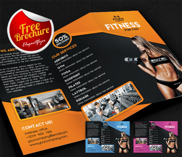 65 print ready brochure templates free psd indesign ai for Gym brochure template