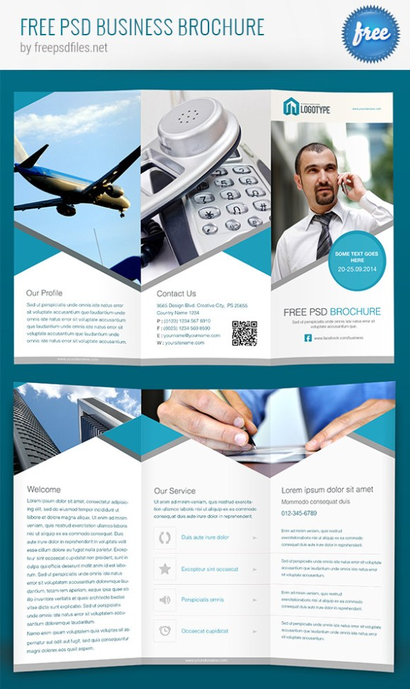 65 print ready brochure templates free psd indesign ai for Company brochure template free