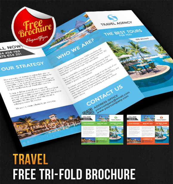 Travel Tri-Fold Brochure PSD Template