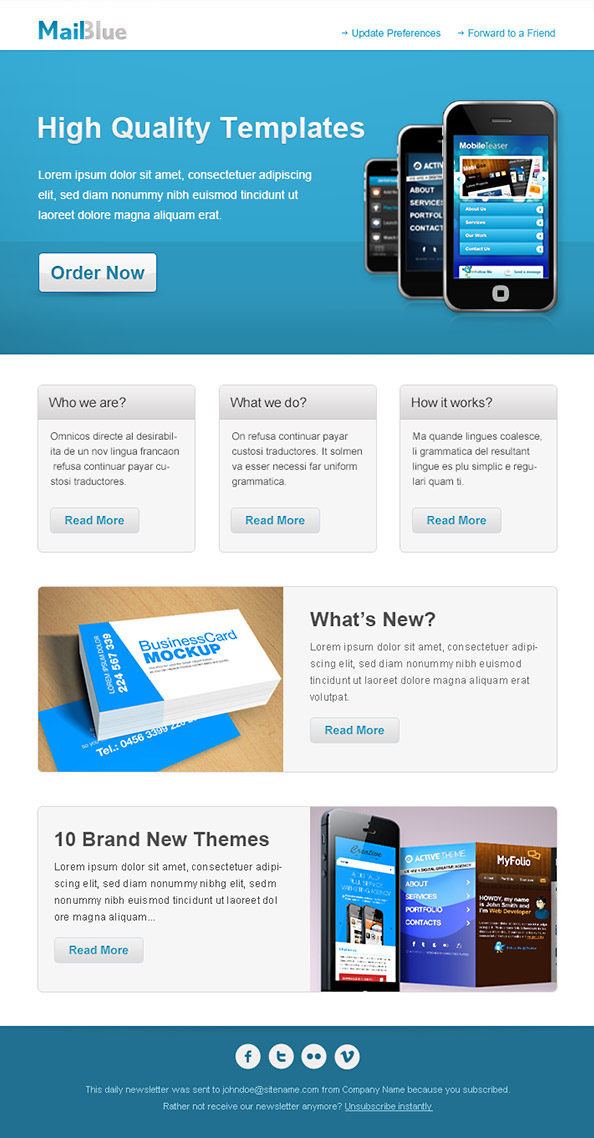 36 best email newsletter templates free psd html for Business promotion email template