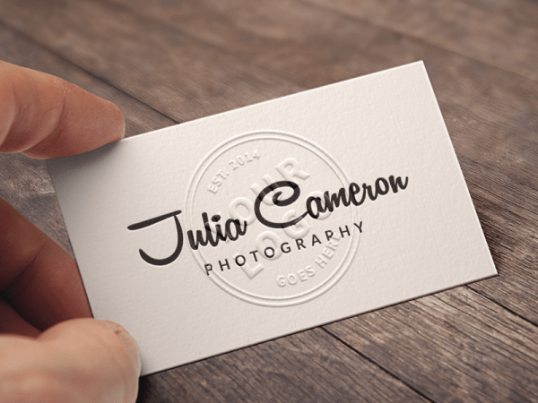 Embossed Business Card Mockup PSD