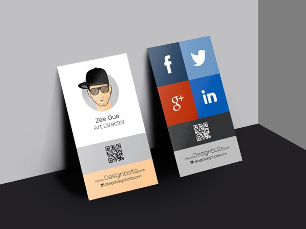 Free Vertical Business Card Design and Mockup PSD