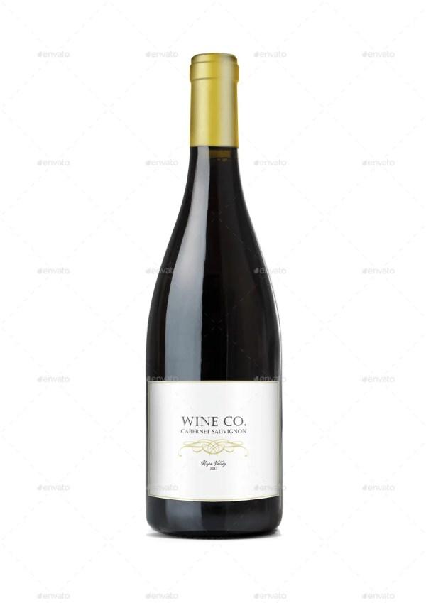 Realistic Burgundy Red Wine Bottle Mockup