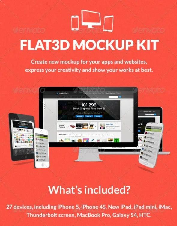 Flat 3D Mockup Kit