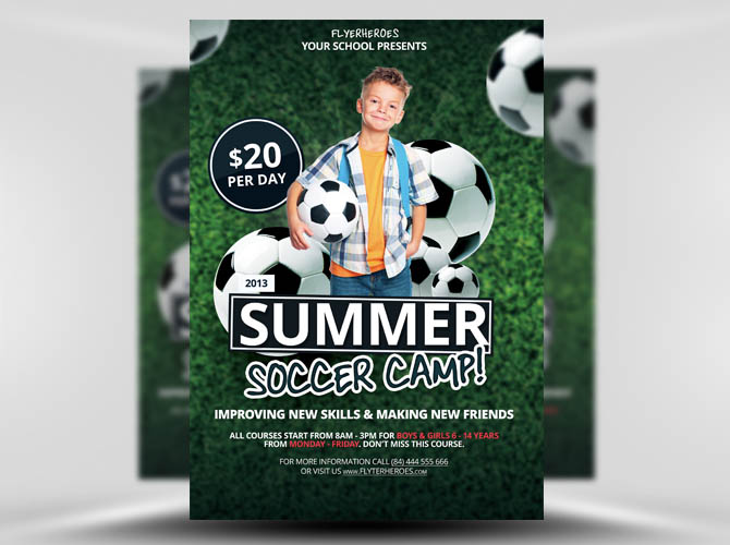 Free Summer Soccer Camp Flyer Template