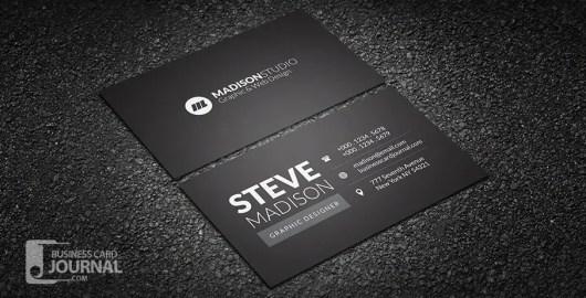 Dark Minimal Typography Business Card Template