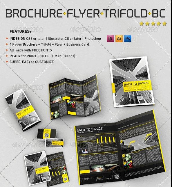 4 Pages Bi-Fold Brochure + Trifold + Flyer + Business Card