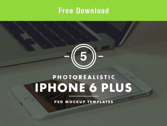 Photorealistic iPhone 6 Plus PSD Mockup Templates