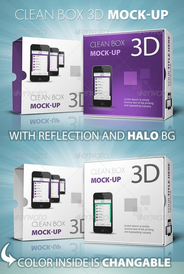 Clean Box 3D Mockup