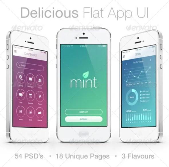 Delicious Flat Mobile App UI