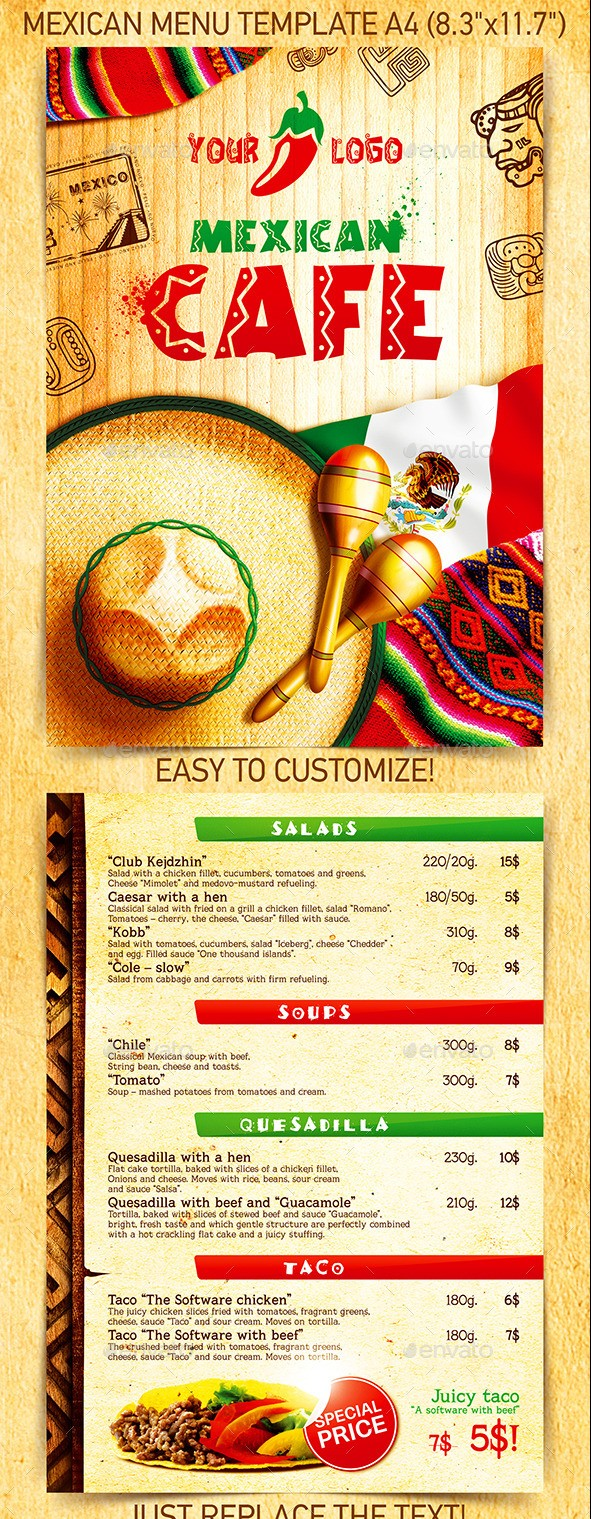 Mexican Menu Template Vol.2