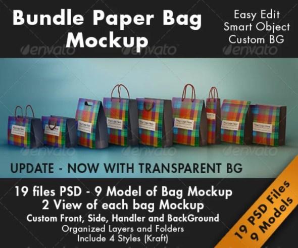 Bundle Paper Bag Mockup