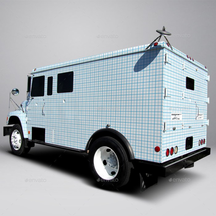 Ford F800 Armored Truck Wrap Mockup
