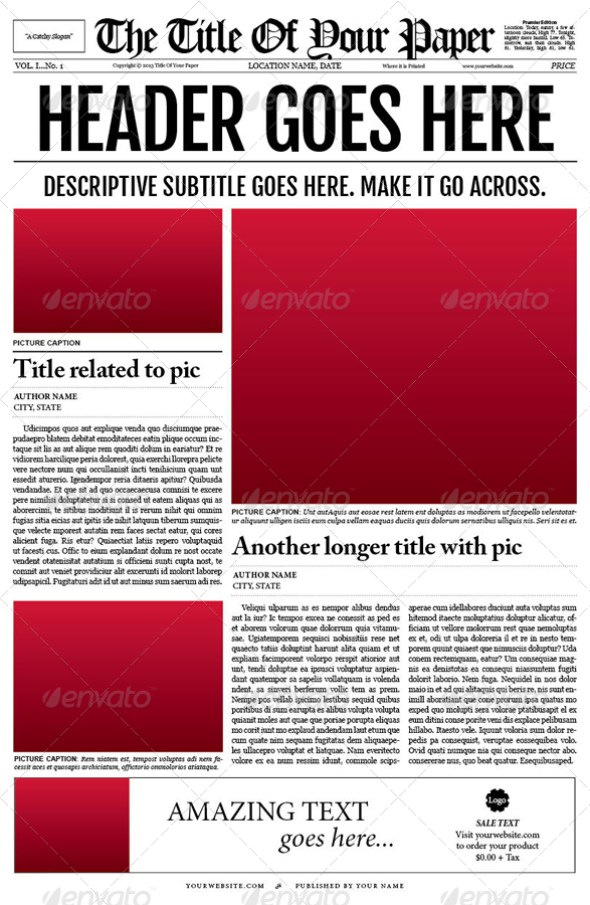 Sizzling image for printable newspaper templates