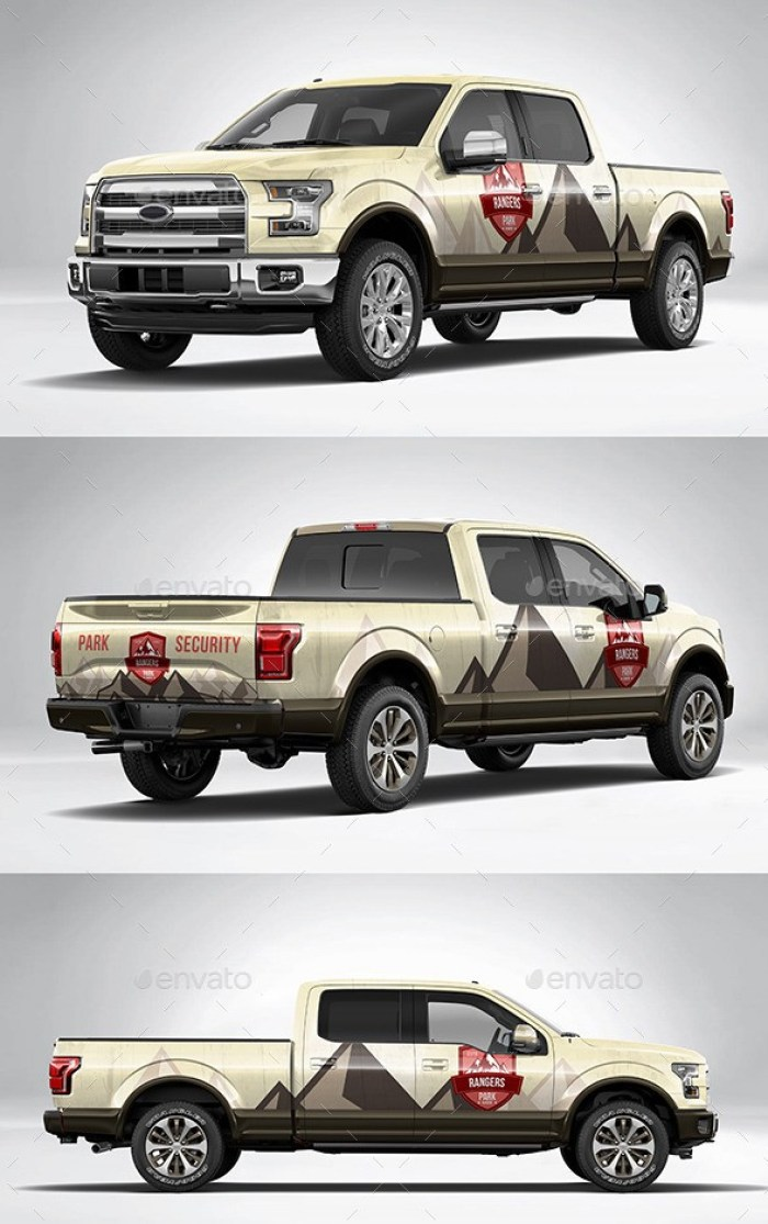Photorealistic American Pickup Truck Wrap Mockup