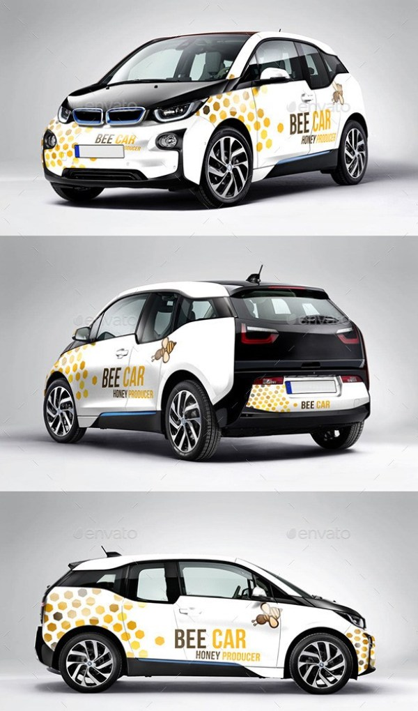 Photorealistic Deutch Electric Car Mockup