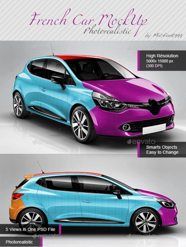 Photorealistic Popular French Car Mockup