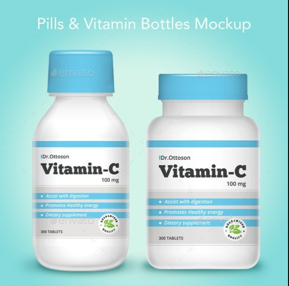 Pills and Vitamin Bottle Mockup