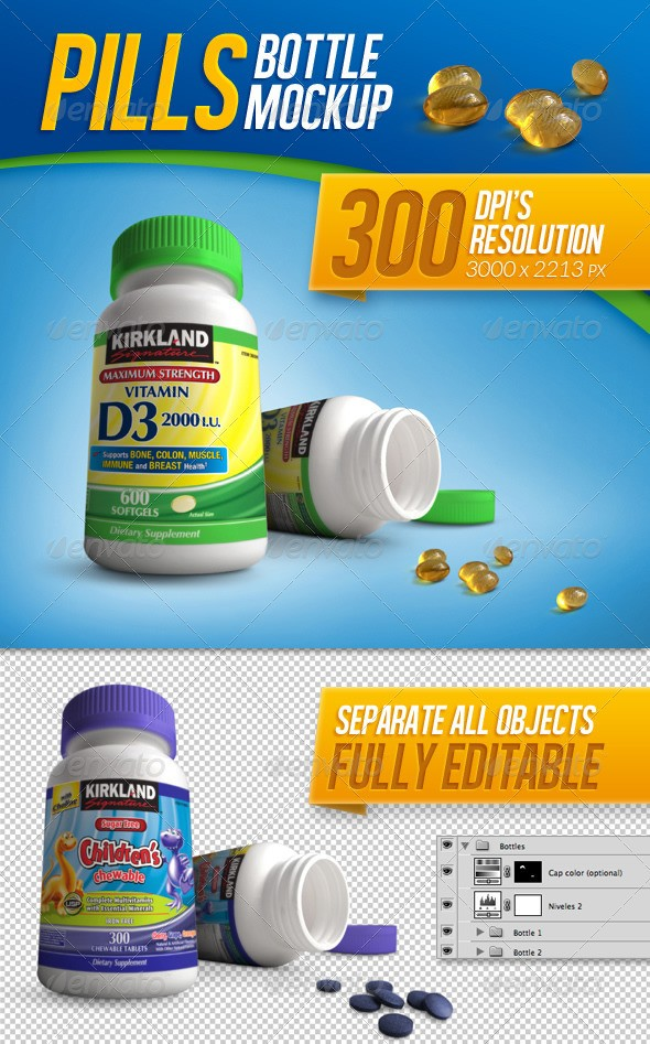 Tablets, Vitamins and Pills Bottle Mockup