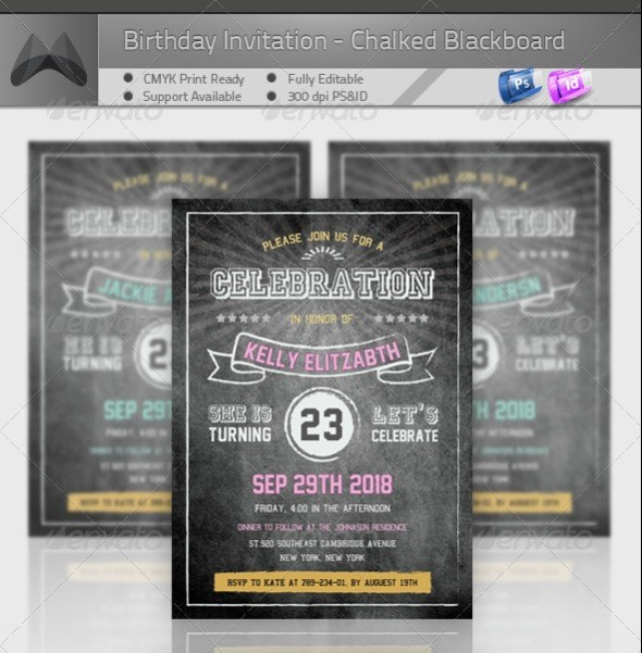 Birthday Retro/Vintage Invitation - Blackboard