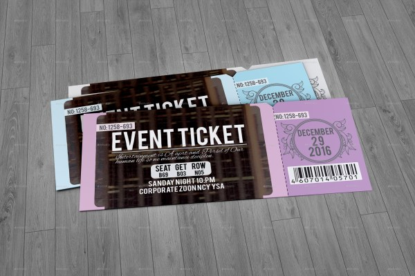 46 Print Ready Ticket Templates PSD for Various Types of Events – Event Ticket Template