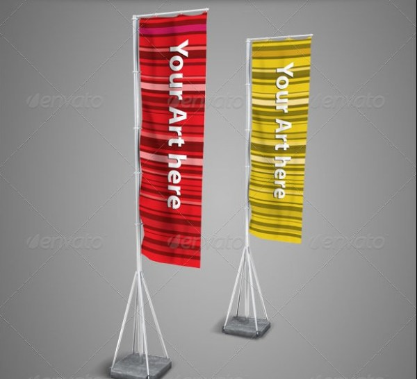 Vertical Flags Mockup