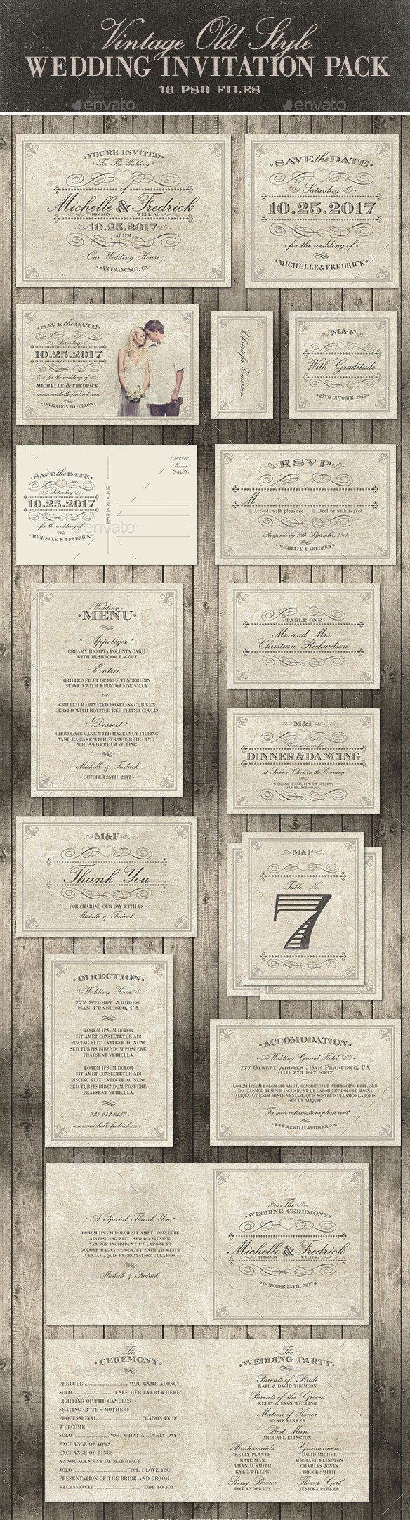 Wedding Invitation Package - Vintage Old Style