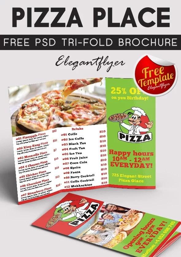 Free Tri-Fold Pizza Place Brochure PSD Template