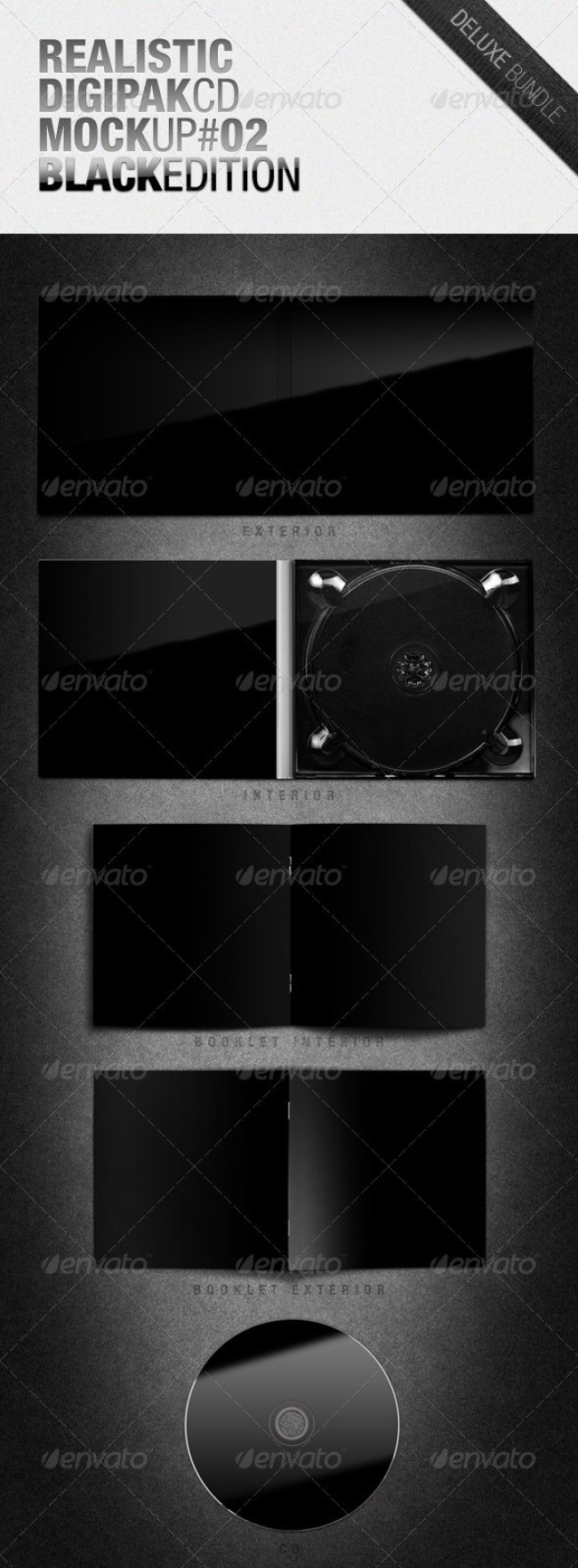 Realistic Digipak CD Mockup #02 Black Edition