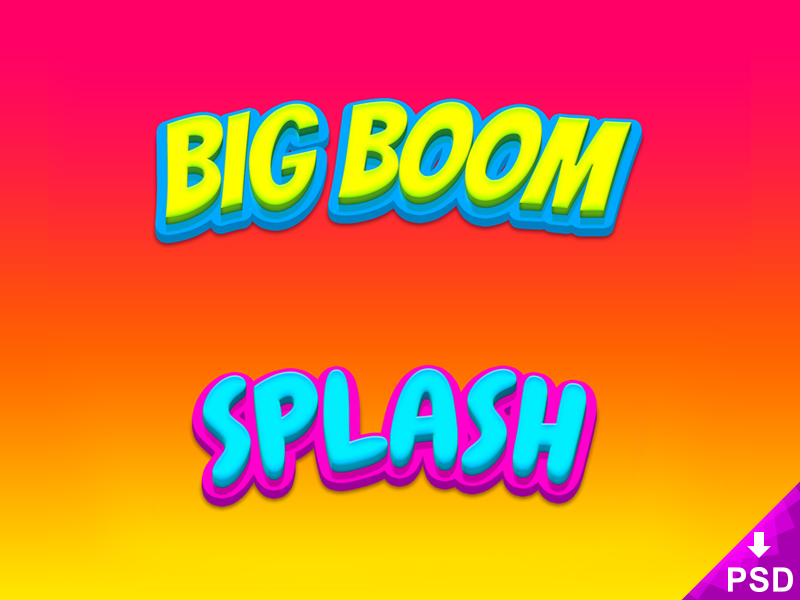 Big Boom and Splash Text Styles