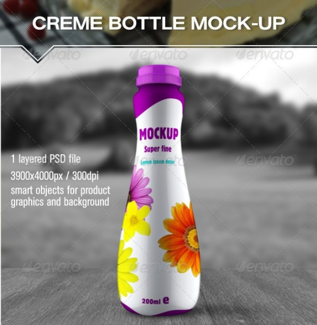 Cream Milk Bottle Mockup