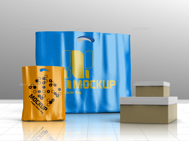 great shopping plastic bag psd design mockup