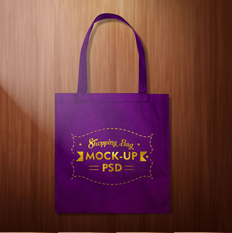simple free shopping bag poly bag psd mockup